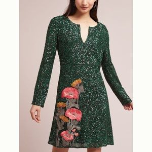 Anthropologie Green Sequined Dress